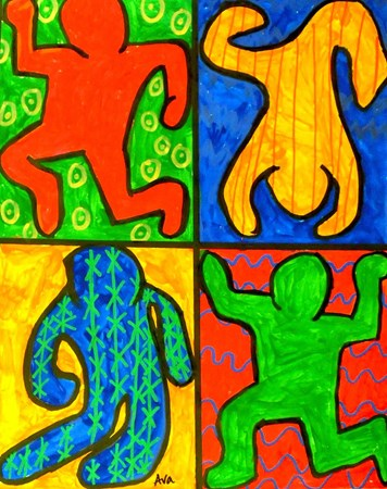 Keith Haring Figures With The Wooden Doll 3D App